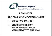Change in Service Day - Advanced Disposal