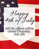 City Offices Closed July 4th