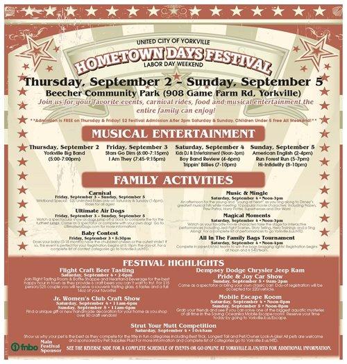 Hometown Days Schedule 1