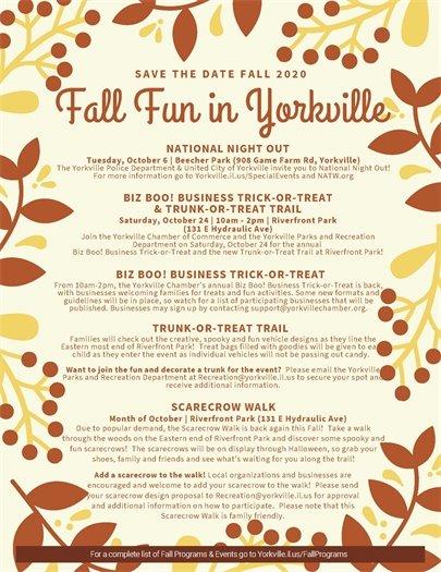 Fall Event Schedule