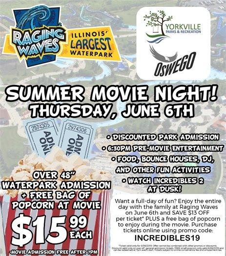 Summer Movie Night - June 6th at Raging Waves!