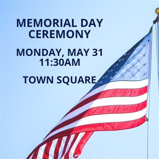 Memorial Day Ceremony - May 31st 11:30 am Town Square Park