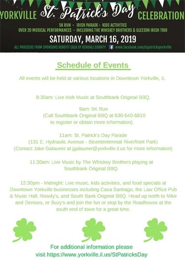 St. Patrick's Day Schedule of Events