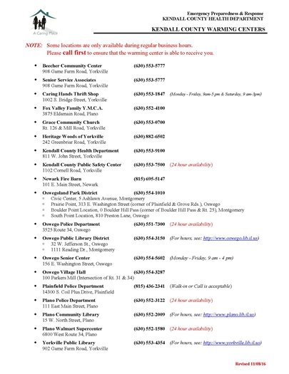 Kendall County Warming Centers Listing