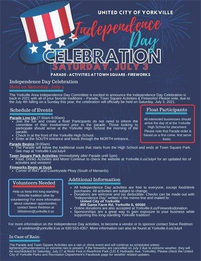 Independence Day Celebration - July 3rd