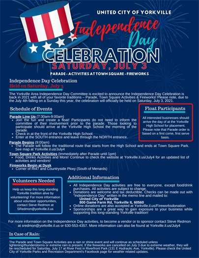Independence Day Celebration - Saturday, July 3rd