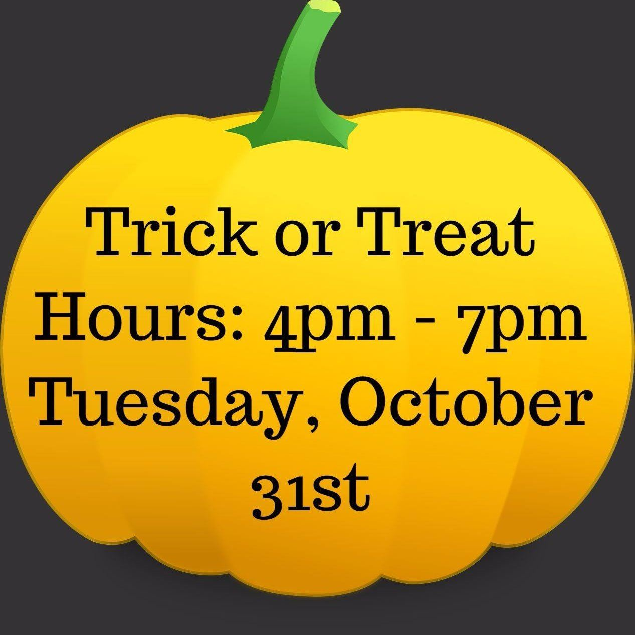 pumpkin trick or treat hours