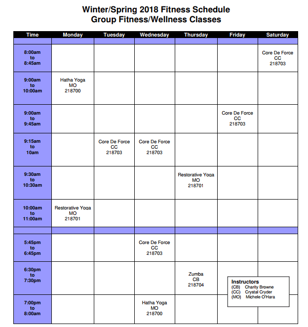 winter and spring fitness schedule