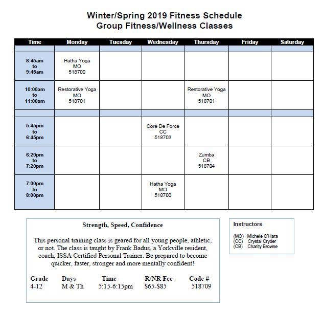 winter spring schedule 2019